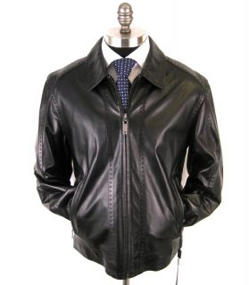 New DI BELLO Italy Black Lambskin Leather Coat Jacket 52 42R 42 L NWT