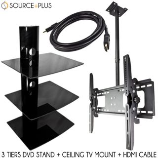 Ceiling TV Wall Mount 32 60 Tilt HDMI Cable LCD LED Plasma 3 Tier DVD