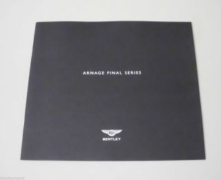 Bentley Arnage Final Series Dealer Brochure Book