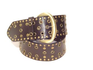 New Chocolate Brown Leather Stud BOHEMIAN Boho Wide Belt L ML