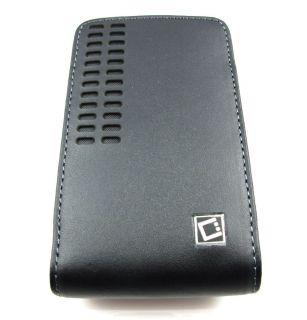 BERGAMO BLK LEATHER SLEEVE BELT CLIP POUCH CASE HTC EVO 4G 3D PHONE