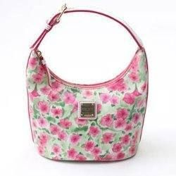 NEW Dooney & Bourke Pink Green Petunia Flower Bucket Bag Purse $148 2