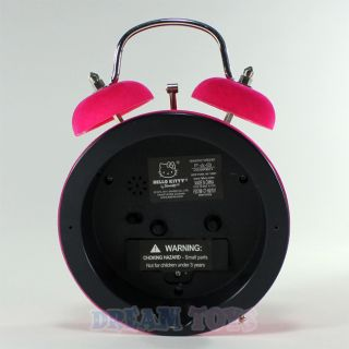 Sanrio Hello Kitty Hot Pink Felt Twin Bell Alarm Clock   Desk