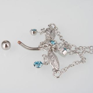 Navel Belly Button Ring Blue Crystal Body Piercing Jewelry