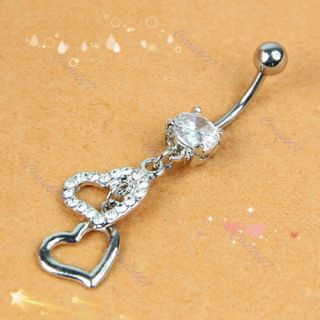 Double Heart Rhinestone Silver Crystal Navel Belly Button Ring