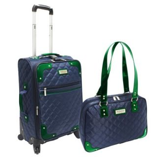 Beverly Hills Country Club Quilted Carry on Luggage 2 Piece Set Navy