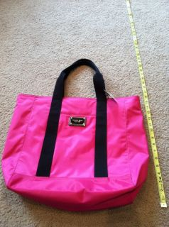 Michael Kors Brand Electric Pink Black Large Jet Set Tote Bag Womens