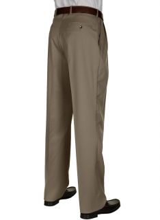 BERLE Mens Dress Pants Taupe Worsted Wool Pleated Trousers Milan