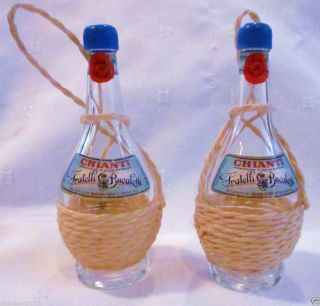 Oil Vinegar cruets Chianti Wine Bottle Glass Hemp Basket Italian