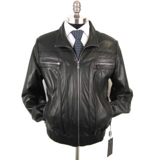 New Di Bello Italy Black Lambskin Leather Coat Jacket 52 42 42R M L $2