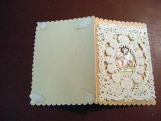 Small Antique Victorian Lace Diecut Valentine w Saint Bernard
