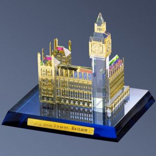 Crystal Building Model London Big Ben Tower Souvenir