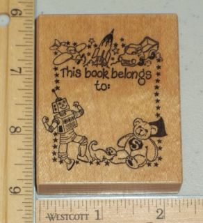 PSX F 472 THIS BOOK BELONGS TO KIDS TOYS ROBOT+ rubber stamp LOW