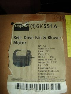 Dayton Belt Drive Fan Blower Motor 6K551A