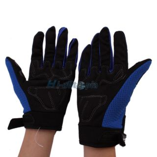 Long Finger Cycling Protective Gloves for Bicycle Bike Motorcycle Blue