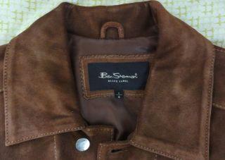 Ben Sherman Very Nice Mens Suede Jacket Brown Small