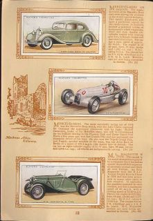 Tobacco Card Album Cards John Player Motor Cars Vehicles 1st Series