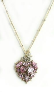 Betsey Johnson Jewelry Iconic Cupids Arrow Crystal Heart Necklace Free