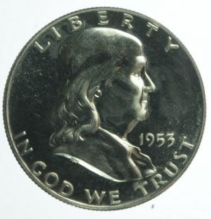 1953 US Mint Benjamin Franklin Proof Half Dollar 50 Cents