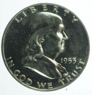 1953 US Mint Benjamin Franklin Proof Half Dollar 50 Cents
