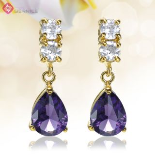 Women Jewelry Sale Pear Cut Purple Amethyst Yellow Gold Plated Stud