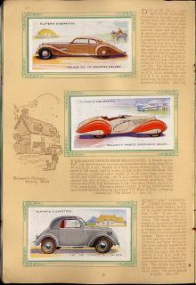 Tobacco Card Album Cards John Player Motor Cars Vehicles 2nd Series