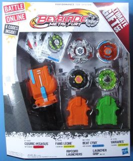 BEYBLADE METAL FURY ULTIMATE GIFT SET   4 BEYBLADES, GRIP LAUNCHER AND