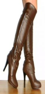 New Women Sz 4 High Heel Stylish Bianca Boots in Brown Faux Leather