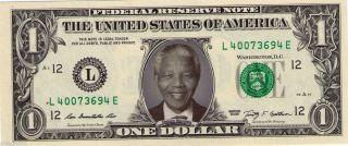 Nelson Mandela Celebrity Novelty Dollar Bill