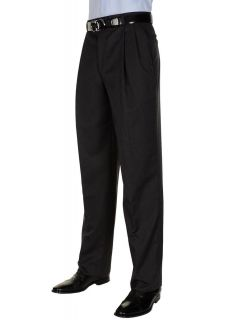 Berle Mens Dark Charcoal Dress Pants Worsted Wool Pleated Trousers