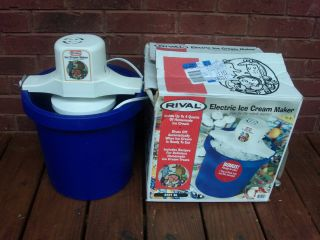 Vintage Rival Blue 4 Qt Electric Ice Cream Maker