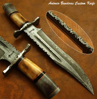 Bill Andersons 1 of A Kind RARE Custom Damascus Bowie Knife Fossil