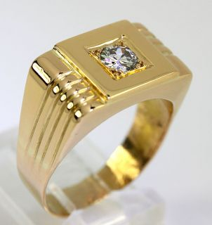 BLAZING MENS .45C ROUND DIAMOND SOLITAIRE 22K YELLOW GOLD STATELY