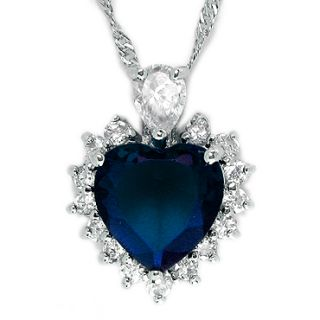Christmas Gift Jewelry Fashion Blue Sapphire White Gold GP Pendant