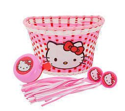Kids Hello Kitty Bicycle Bike Basket Bell Streamers New