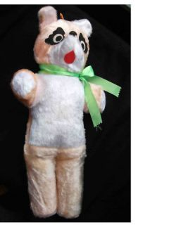 Antique Tan White Teddy Bear from 1950 60s Orig Bow