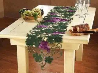 Kitchen Decor Grapes Vineyard Embroidery Table Runner