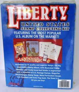 Liberty United States Stamp Collecting Kit album HUGE +200 US stamps
