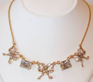 Betsey Johnson Jewelry Iconic Crystal Bow Necklace