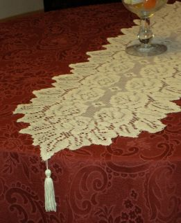 Cream Lace Floral Table Runner Dresser Scarf 13X45