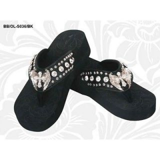 ANGEL WINGS MONTANA WEST RHINESTONE CROSS BLACK SANDALS SHOES FLIP
