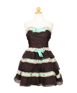Betsey Johnson Black Ruffled Tiered Ribbon Lace Cocktail Party Dress