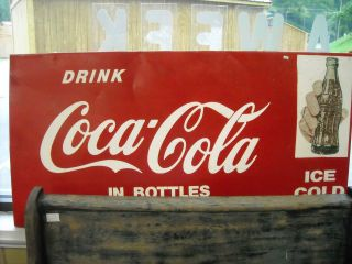 Vintage Coca Cola Sign Coke Signage Bottle 48 x 24 Ice Cold In Bottles