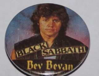 Black Sabbath Vtg Tin Button Pin Badge Bev Bevan V RARE
