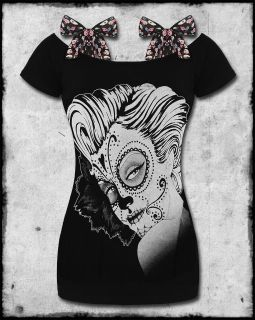 HOT BLACK SUGAR SKULL DAY OF THE DEAD GIRL ANNABEL BOW T SHIRT TOP