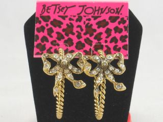 Betsey Johnson Gold Iconic Crystal Bow Hoop Earrings