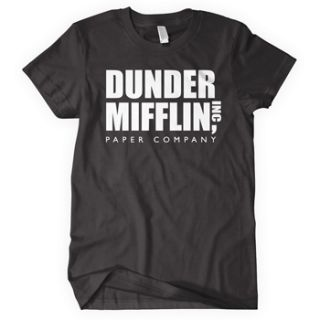 This fine DUNDER MIFFLIN t shirt features the logo of the now