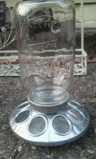Galvanized Bird Chicken Feeder Water Dish with Jar