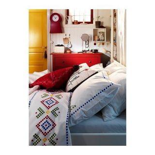 Ikea BIRGIT LANTLIG Duvet Cover 3pcs set w/ snaps White Red Green Full