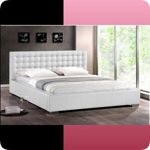 White Bed with Upholstered Headboard King Queen Size Beds New